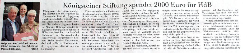 Bericht in der Taunus Zeitung vom 15. Juni 2013