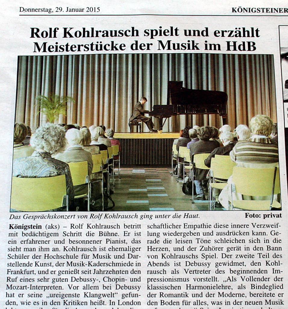 Konzert-Kritik der Königsteiner Woche. Beim Klick führt ein Link zum vollständigen Artikel.